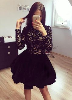 Fall homecoming party dresses, simple black long sleeves homecoming dresses.