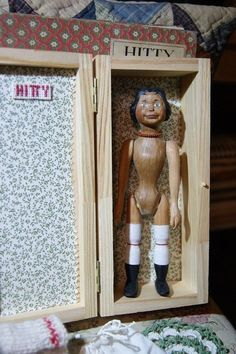 Marina Savchuk's Beautiful carved wood Hitty doll in a wooden box for storage+3 sets of clothes. eBay BIN $265 Dec 2, 2017
