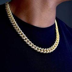 Diamond Cuban Link in Yellow Gold Dainty Gold Jewelry, Mens Gold Jewelry, Men's Jewelry Rings, Jewelry For Men, Modern Jewelry, Jewlery, Gold Necklace For Men, Mens Chain Necklace, Gold Pendants For Men