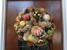 Fall Burlap and Mesh Wreath by HertasWreaths on Etsy