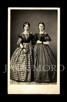 RESERVED / Do Not Buy // 1860s Fashion CDV Photo ~ Pretty Young Girls in Beautiful Dresses & Jewelry