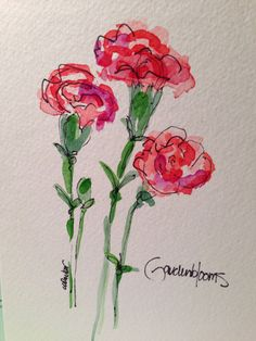 More Carnations Watercolor Card by gardenblooms on Etsy, $3.50