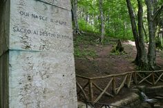 Mussolini's headstone near the source of Tiber, Roma
