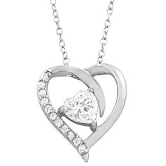 Sterling Silver Cubic Zirconia Birthstone Heart Necklace (18 inch) *** You can…