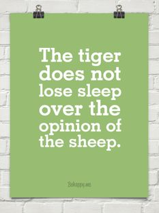 The tiger does not lose sleep over the opinion of the sheep.