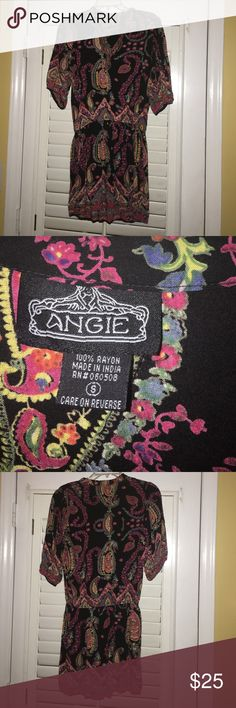 Angie dress. Size small from Lebo's Angie dress size small. Elastic waist to make it look like a blouse and skirt. Wore with cowboy boots. Looks great on. Very colorful. Like new Angie Dresses