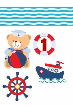 Topo de bolo ursinho marinheiro para editar e imprimir - Mimo Kids Baby Chower, Nautical Clipart, Sailor Party, Sea Theme, Scrapbook Designs, Little Boys, Cake Toppers, 3 D, Diy And Crafts