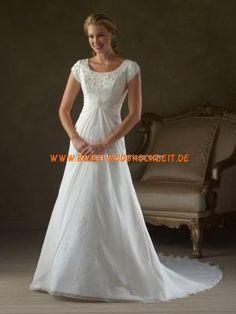 Elegantes und schlichtes Hochzeitskleid aus Satin A-Linie kaufen online