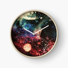 'Galactic Attraction' Clock by Iphone Wallet, Iphone Cases, Modern Prints, Art Prints, Quartz Clock Mechanism, Free Stickers, Hand Coloring, Attraction, My Arts