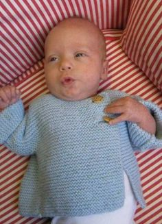 Garter Stitch Baby Sweater Free Knitting Pattern