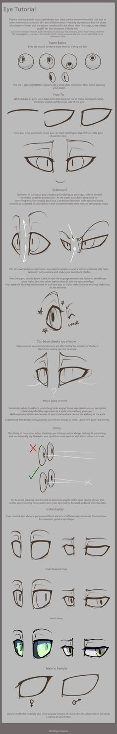 Eye Tutorial by StickFigureQueen.deviantart.com on @deviantART ✤ || CHARACTER DESIGN REFERENCES | キャラクターデザイン | • Find more at https://www.facebook.com/CharacterDesignReferences & http://www.pinterest.com/characterdesigh and learn how to draw: concept art, bandes dessinées, dessin animé, çizgi film #animation #banda #desenhada #toons #manga #BD #historieta #strip #settei #fumetti #anime #cartoni #animati #comics #cartoon from the art of Disney, Pixar, Studio Ghibli and more || ✤