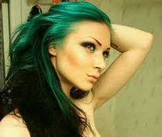 teal highlights with dark hair, like it