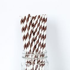 Chocolate Brown Striped Straws