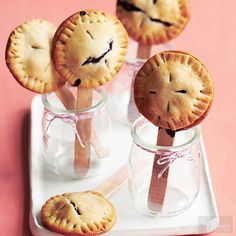 No need to serve old-fashioned slices of pie! Bake up these blueberry pie pops and serve them in Mason jars. They look great on a dessert buffet or reception tables.
