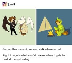 """junvii: """"Some other moomin requests idk where to put Right image is what snufkin wears when it gets too cold at moominvalley """" Moomin Valley, Tove Jansson, Fandom Crossover, Fandom Memes, Cartoon Shows, Superwholock, Cool Art, Crime, Nerd"""