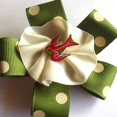 Army Green Swallow Rockabilly Hair Clip ALL NEW! With hand painted original tattoo art by Wicked Minky $18.00 by #missrockabilly