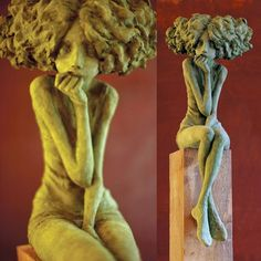 """Valérie Hadida is a contemporary French sculptor and painter, working mainly in Bronze and clay. This set of sculptures is from Les """"petites bonnes femmes""""/ The Little Women series, which has been described by critics as a """"poetic encounter….[meant] to make us travel the path of women from adolescence to maturity and through the various emotions and moods that drive these generations of women"""". Trained at l'Ecole d'arts plastiques et publicité de la ville de Paris (EMSAT)..."""