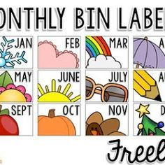 Teaching Special Thinkers: Organizing Monthly Materials {Monthly Bin Labels F. Classroom Labels, Kindergarten Classroom, Classroom Activities, Classroom Ideas, Kindergarten Centers, Classroom Design, Elementary Teacher, Book Bin Labels, Beginning Of School