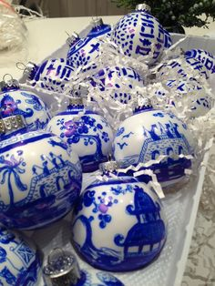 Hand Painted Glass Blue Willow Inspired Ornament by IndigoHome