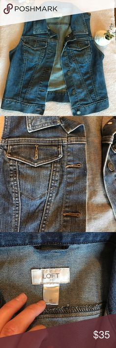 Loft denim sleeveless jacket in staple indigo wash NWOT! Staple for EVERY closet no flaws two front pockets LOFT Jackets & Coats Jean Jackets
