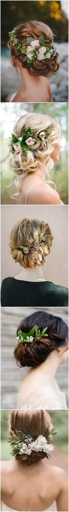 Wedding Hairstyles » 18 Wedding Updo Hairstyles with Greenery Decorations >> ❤️ See more: http://www.weddinginclude.com/2017/03/wedding-updo-hairstyles-with-greenery-decorations/ #weddingdecoration #weddinghairstyles