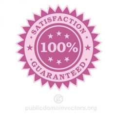 PublicDomainVectors.org-100% satisfaction guaranteed vector label. Product sticker in pink color with text.
