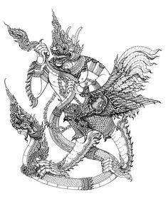 """""""Krut Yut Nak"""" ver.2 Tattoo inspiration Thai's"""