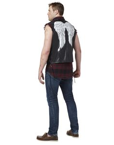 The Walking Dead Daryl Dixon Adult Men's Vest exclusively at Spirit Halloween - Take down your share of walkers on Halloween and look good doing it in this officially licensed Walking Dead Daryl Dixon Adult Men's Vest. Black faux leather vest with printed wings is just what you need to look like the most fierce zombie slayer on TV. Get yours for $29.99.