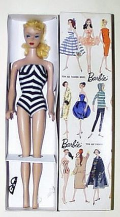 I remember Barbie's striped bathing suit. Ponytail or bubble hairdo? Mine had the bubble 'do. My sisters and I played together for hours, imaging their lives like mini-soaps. My Barbie's little glasses were red, so chic!