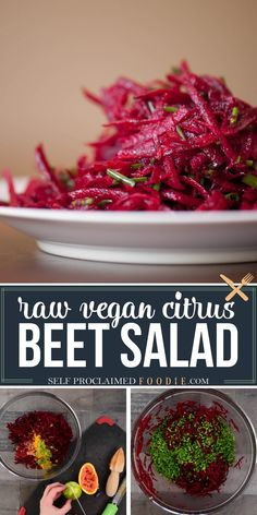 Raw Citrus Beet Salad is a gorgeous, bright, and incredibly easy to make vegan super food side dish salad recipe bursting healthy flavor. It will even have non-beet lovers asking for more. #beetsalad #raw #citrus #vegan #easy #dressing #healthy