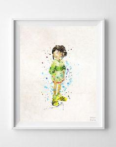 Spirited Away Print, Chihiro Watercolor Art, Ghibli Poster, Wedding Gift, Office Decor, Nursery Posters, Artwork Sale, Halloween Decor