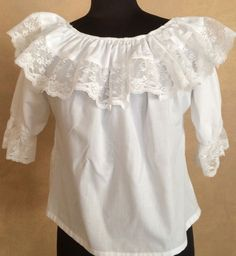 WHITE LACE TRIMMED SQUARE DANCE PEASANT BLOUSE APPROX SMALL NO TAG CK MEASURE #CarefreeFashions #Blouse #Casual