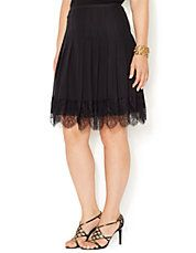 Plus Pleated Lace Trim Skirt