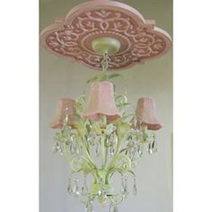 Ooh, pretty if you change the colors up a bit! Chandelier with a quatrefoil medallion for a little girl's room.