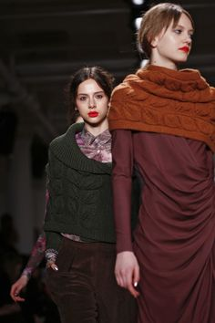 leafy motif on costello tagliapietra knits. Also, models: please smile and go eat a sandwich. Maybe a hot fudge sundae.