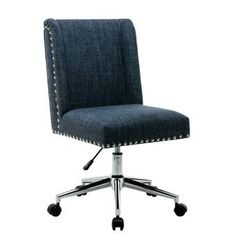 Charlton Home Lewisburg Studded Design Task Chair Upholstery Color: Blue Adjustable Office Chair, Ergonomic Office Chair, Office Chairs Online, Home Office Chairs, Office Furniture, Furniture Decor, Distressed Desk, Best Office Chair, Small Office Chair
