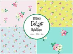 Decorative digital paper in jpeg format, 4 images in inch printable. Loose watercolor flowers, for web design and cards. Watercolor And Ink, Watercolor Flowers, Digital Journal, Notebook Paper, Paper Dimensions, Diy Invitations, Surface Pattern Design, Paper Background, Paint Designs