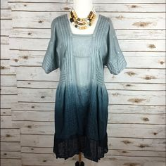 "[Anthropologie] Ocean Dipped Tunic Dress Boho Chic Breezy bohemian dress by Holding Horses from Anthropologie. Woven, gauzy cotton. Relaxed tunic silhouette. Embroidered detailing. Pullover style. Not lined. Would need a slip or something underneath.  Bust: 18"" Length: 35"" Condition: EUC. No visible flaws. Missing original slip.   No Trades! Anthropologie Dresses"