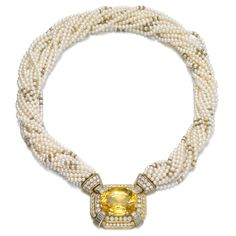 BVLGARI ~ Yellow Sapphire, Seed Pearl and Diamond Necklace