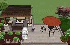Simple Brick Patio with Pergola | Patio Designs and Ideas