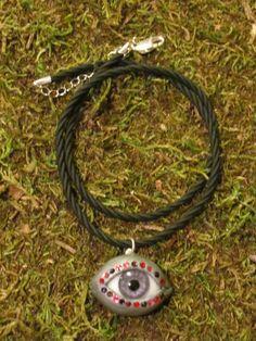 Jeweled Evil Eye Pendant Necklace by HiddenForestJewels on Etsy, $36.00