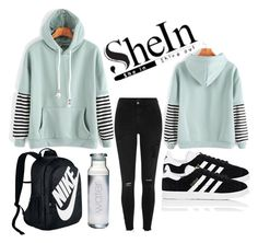 """Shein""Fashion"" by eelmaa ❤ liked on Polyvore featuring adidas, River Island, WithChic and NIKE"