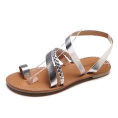 45dadc8cb6c73 Women Summer Strappy Gladiator Low Flat Heel. Flip Flops Beach Sandals
