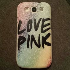 Galaxy s3 case Love pink with rainbow background and is Shimmery! PINK Victoria's Secret Other