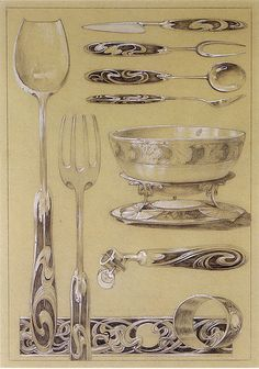 Cutlery and other servingware as sketched by Alphonse Mucha.
