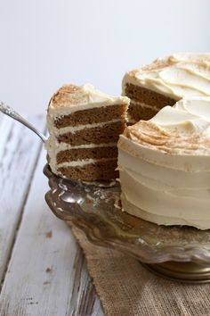Buttermilk Spice Layer Cake with Brown Sugar Cream Cheese Frosting- The Baker Chick