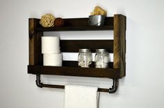 [ D E S C R I P T I O N ] Add style and appeal to your bathroom. Two roomy shelves hold plenty of bath essentials while a firmly mounted 18 bar holds a towel right at ready reach. -------------------------------------------------- [ F I N I S H / C O L O R ] Dark Walnut -------------------------------------------------- [ D I M E N S I O N S ] 22 Width x 13 Height x 5 Depth. Total height is 16 1/2 including bar. Shelves are 4 deep.  -------------------------------------------------- [ O P T…