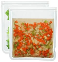 These one gallon size reusable freezer bags are perfect - I'm so glad they are clear. The biggest problem with reusable bags is they are often opaque, which is a pain in the freezer. Blue Avocado (re)zip Leak-proof Clear Reusable Storage Bag - 2ct