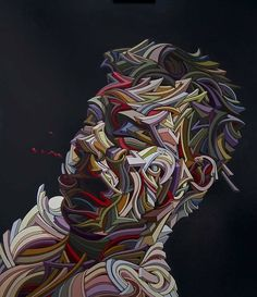 """Shaka Exposition à la galerie Lazarew jusqu'au 8 novembre! """"Onde de Choc 2"""", 2014, hulie sur toile. """"Shock wave 2"""", 2014, oil on canvas. — at Galerie Lazarew."""