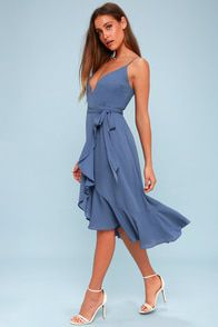 Manhattan Moment Blue Ruffled Midi Wrap Dress